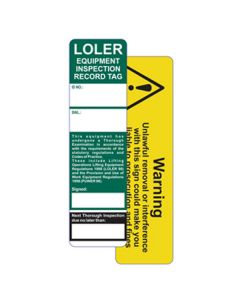 LOLER Safety Tag Insert