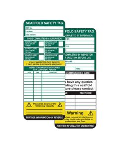 Scaffold Safety Tag Insert